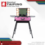 Wholesale 4 Legs Trolley Aluminum Make Up Case With Light