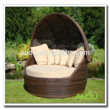 Audu Large Round Poly Rattan Sun Lounger Garden