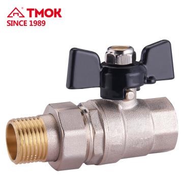 Messing Kugelhahn Single Union 15mm / 20mm / 25mm Rohrhahn mit Aluminium-T-Griff CE-Zulassung