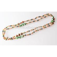 Collar de perlas de cristal anudadas a mano extra largas