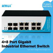 Commutateur ethernet industriel de 12 ports d'équipement de fibre optique