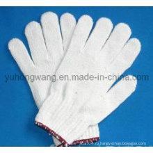 Дешевые белые хлопковые трикотажные рабочие рабочие перчатки / рукавицы