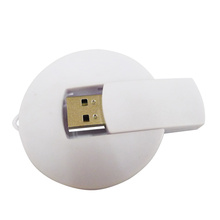 Plastic White Round Swivel USB Flash Drive