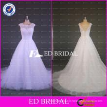 ED Bridal Elegant White Cap Sleeve Lace Appliqued Bodice Vestido de Baile Tulle Wedding Dresses 2017