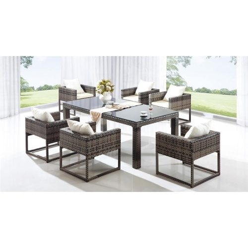 Indoor 7pcs set Wicker Dining set