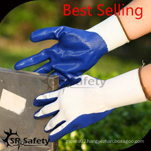 SRSAFTY 13gauge knitted white polyester coated blue nitrile on palm, safety working gloves with best price in China