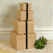Ensemble de boîte en papier carré Kraft avec bande élastique