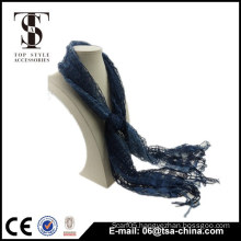 viscose and nylon blending dark blue hollow tassel spring shawl scarf