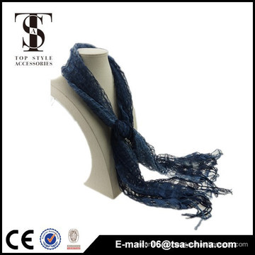Viskose und Nylon Mischung dunkelblau hohle Quaste Frühjahr Schal Schal