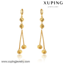 93566 xuping long eardrop golden huggies jewelry gold ball drop earrings
