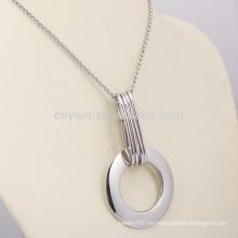 Collar pendiente personalizado de acero inoxidable anillo de plata