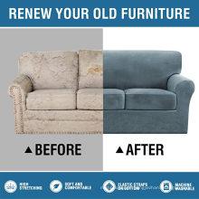 4-teilige Stretch-Sofabezüge aus dickem, gestreiftem Samt für den Innenbereich