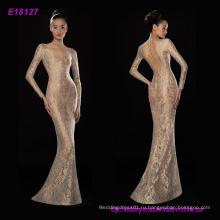 Новая Мода Высокое Качество Прозрачный Золото Кружева Длинные Рукава Вечерние Платья Длина Пола Платье