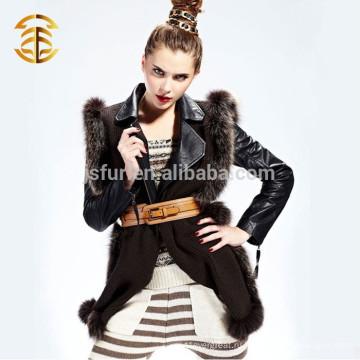 2015 Новейшая зимняя женская лиса меховая полоса Шерсть трикотажная шаль и шарф
