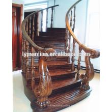 Barandilla de roble rojo de lujo de roble macizo escaleras rectas