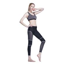 Leggings de fitness Plissado Malha Compressão Ginásio Fino Plissado Costa emenda mulheres calças de yoga leggings