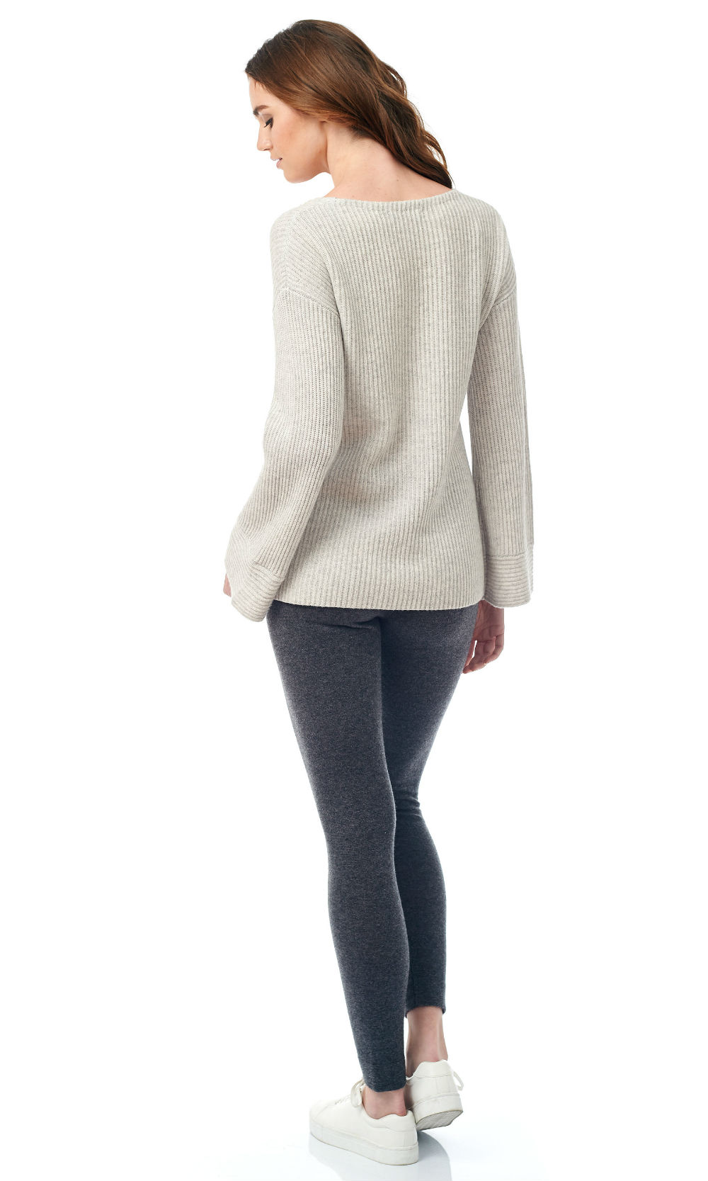 V neck bell sleeve sweater back