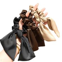 Korean Ribbon Scrunchies Elastic Hair Bands Rubber for Girl Women Cute Horsetail Bun Head Tie Bow Rope Hair Accessories 2021