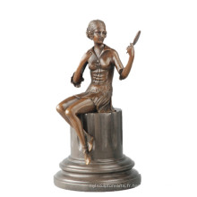 Femme Collection Bronze Sculpture À La Main Miroir Fille En Laiton Statue TPE-703