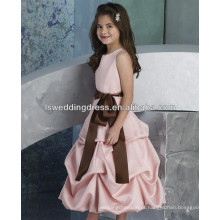 HF2183 Bijutinho rosa jóia decote princesa lixa marrom cintura cintura derrubada cetim bolha hemline comprimento do chá zíper barato vestido de menina