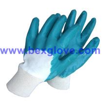 Forro de algodón de interbloqueo, recubrimiento de nitrilo, medio guantes de seguridad recubiertos