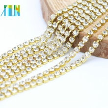 Fashion Crystal Color Gold Close Cup Rhinestone Banding Ribbon Cup Chain, G0101