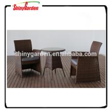 3pcs Rattan Bistro-Set, Rattan Garten Ess-Set, Tisch und Stuhl Restaurant-Set
