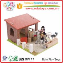 EN71 Conforms Wonderful Wooden Farm Set Kids Role Play Toys
