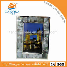 Eco Friendly Blak Mother-of-pearl Frame Photo with Silver Edge