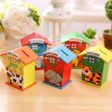 huchas de madera para niños caja de ahorro de dinero