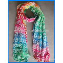Colorful printed cotton voile scarf shawl