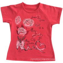 Moda flor menina roupas de bebê em crianças crianças t-shirt com Printingsgt-079