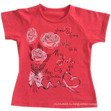 Мода девушки цветка Детская одежда в Детская Детская Футболка с Printingsgt-079