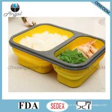Récipient de nourriture en silicone pliable Boîte à lunch indienne Tiffin Sfb08