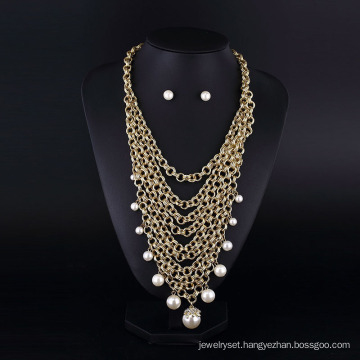 Gold Plating Aluminum Chain Pearl Multilaye Necklace