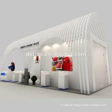Detian Oferecer arco porta madeira stand exibição comércio show de cabine com prateleira de exibição com design 3d livre