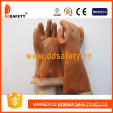 Gants de travail en PVC brun avec fini sable / lisse., 100% coton doublure (DPV112)