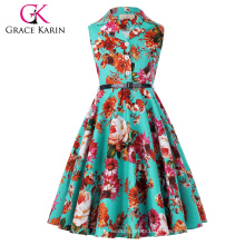 Grace Karin Kids Retro Vintage Vestido sem mangas Lapel Collar Vestido de festa de crianças Vestido de verão para meninas CL009000-7