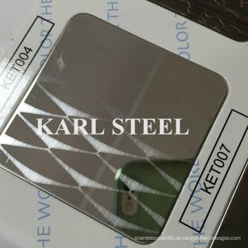 Hohe Qualität 430 Edelstahl Farbe Ket007 geätzten Blatt