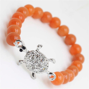 Red Aventurine Gemstone Bracelet with Diamante alloy tortoise Piece