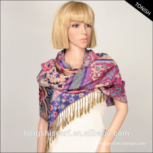 2015 fashion dobby yarn dyed fabric scarf shawl pashmina with frindge