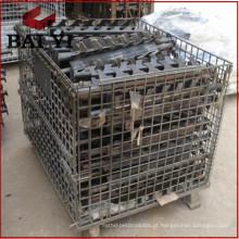 Recipiente de rolo de armazenamento de malha de arame com rodas e gaiola de rolo de paletes