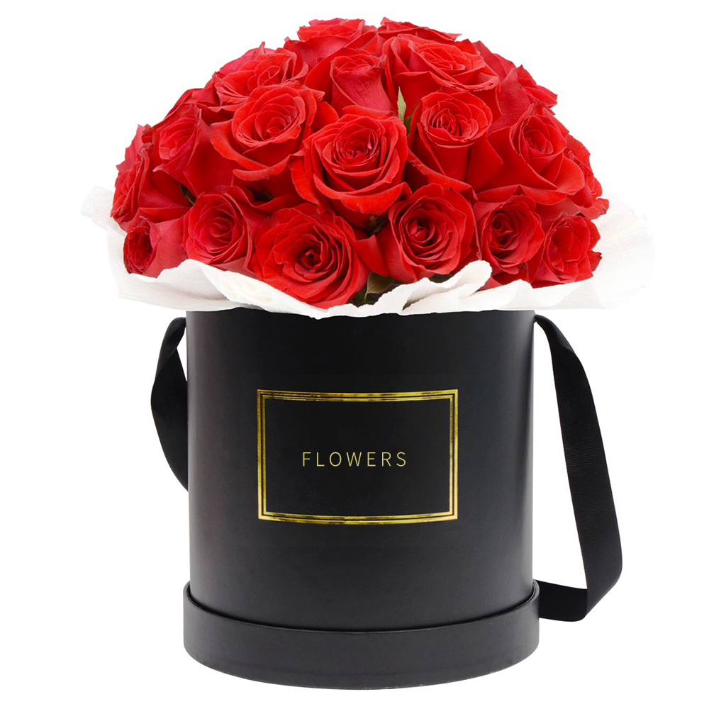 Wholesale Luxury Black Round Flower Paper Box