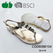 Popular New Summer Fashion Flat Ladies Tpr Sandals