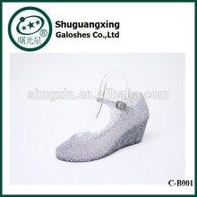 Pastel de réflexions imperméable bottes de pluie étudiant chaussures avec les bottes de pluie mignon de cristaux de gelée pour la vente C-B001
