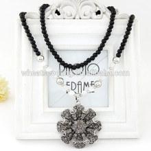 Colar quente da venda 2014 colar frisada preta com pingente dos encantos da flor da boa sorte