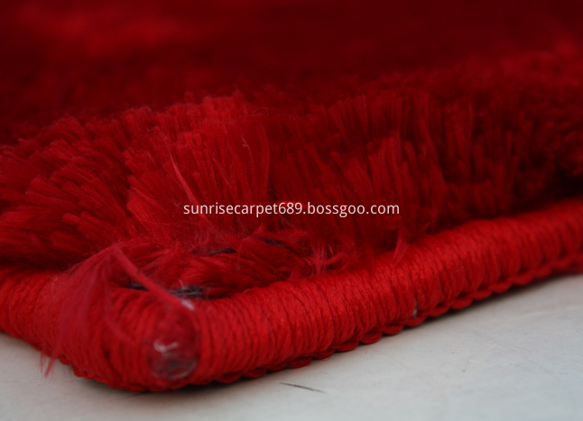 Velvet Polyeser Shaggy Rug Red color