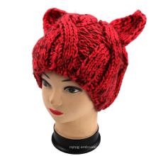 Chapeau à l'oreille de chat malin à la main, chapeau d'animal à tricoter à la main