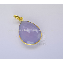 Handmade Chalcedony Natural Gemstone Bezel Necklace For Christmas In Wholesale