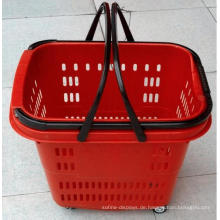 Luxus-Plastik-Supermarkt-Korb mit Rädern